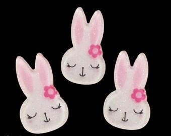Rabbit shaped embellishments, set of 5