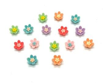 Flower cabochons, mix colour, set of 15