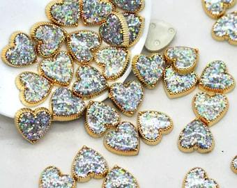 Glitter heart cabochon, silver 13mm