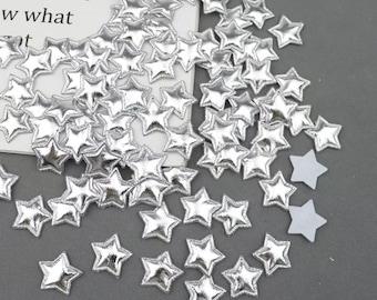 Metallic silver padded fabric stars, 2cm