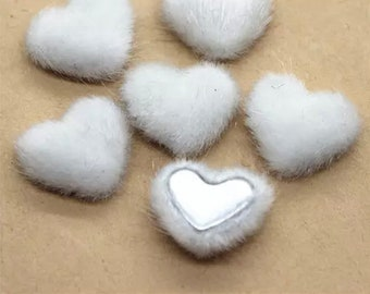 Fluffy heart embellishments, white