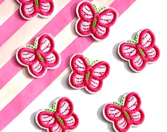 Cute pink butterfly patch x 2