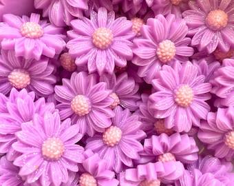 Flower cabochons, 20mm purple glitter