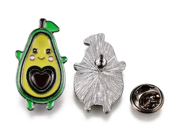 avocado enamel pin badge, cute brooch, kawaii pin, small enamel fruit pin