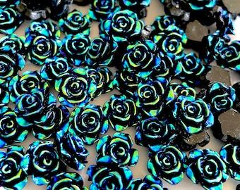 Black rose flower cabochon, 12mm resin
