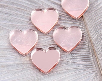 Rose mirror finish heart cabochons, 12mm acrylic
