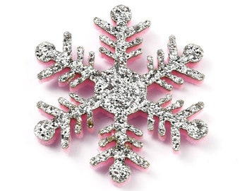 Felt fabric silver snowflake shapes, 36mm