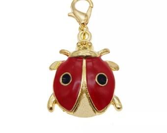Ladybird charm, enamel ladybird dangle charm