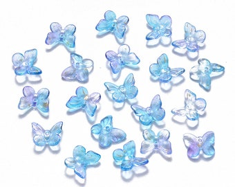 Blue glass butterfly charms, butterfly cabochons, 11mm