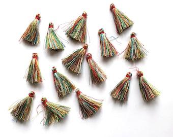 Mini rainbow green/red tassels, mixed colour 35mm