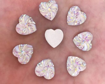 Heart cabochons, set of 15, white/silver