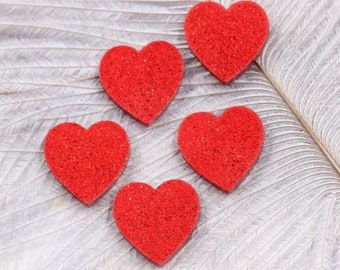 Red glitter heart cabochons, 16mm