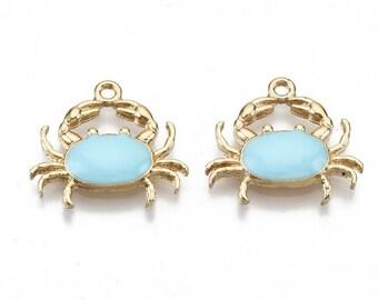 Crab enamel charms, 20mm blue