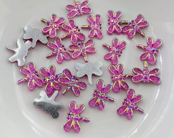 Dragonfly embellishments, pink 12mm