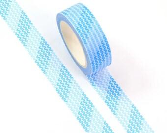 Blue leaves patterned washi tape, 10m