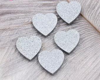 Silver glitter heart cabochons, 16mm