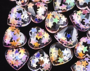 Clear glitter heart cabochons, 13mm resin