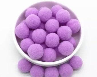 Pom Poms, purple mini pom poms