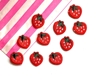 Strawberry mini embroidered patches