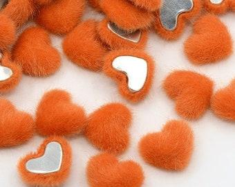 Fluffy heart embellishments, orange 16mm