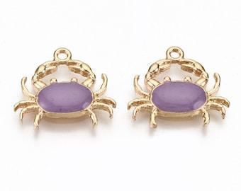 Crab enamel charms, 20mm purple