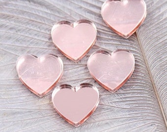 Rose mirror finish heart cabochons, 16mm