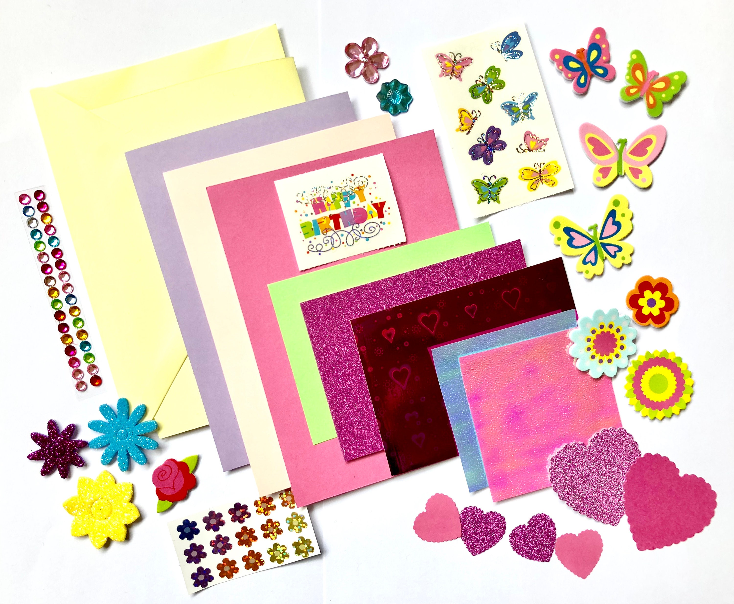 Happy Birthday Card Making Set Hearts Butterflies And Flowers
