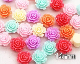 Flower cabochons, mixed pastel colour roses, 14mm