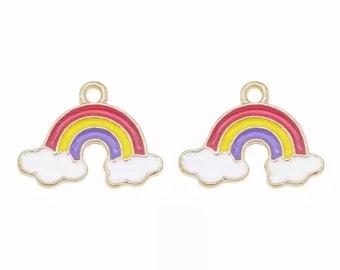 Rainbow enamel charms