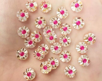 Flower cabochon, glass effect pink and white