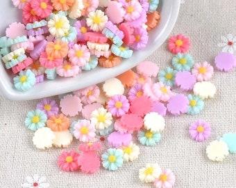 Flower cabochons, 8mm mixed pastel colour