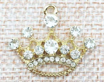 Crown charm, rhinestone crown pendant