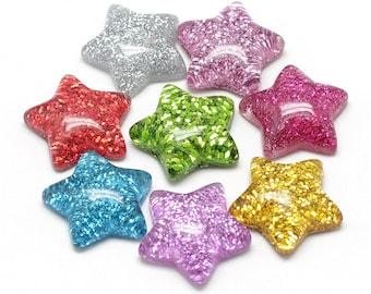 Star embellishments, glitter 17mm
