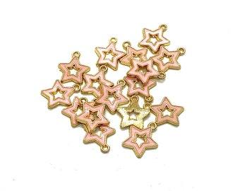 Star charms x 5, pink enamel