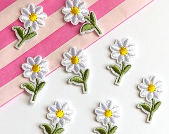 Flower iron on patch set of 5