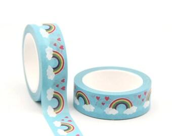 Blue Rainbow Washi tape, decorative craft tape, 10m