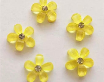 Yellow resin rhinestone flower cabochon, 10mm