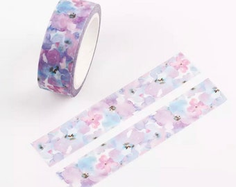 Purple  flowers washi tape roll, 7m washi tape