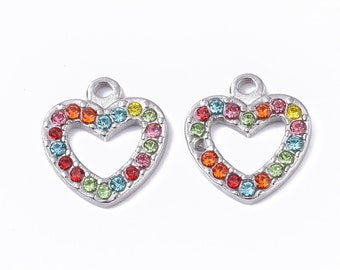 Silver heart rhinestone pendant x 4,