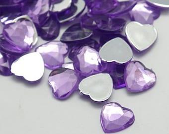 lilac heart embellishments, 12mm hearts,