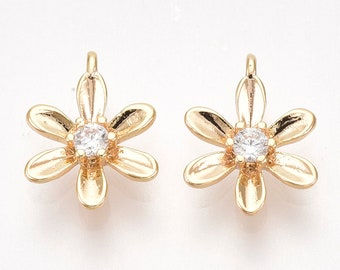Flower charm x 2, 18k gold plated