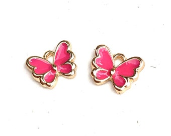 Butterfly enamel charms, pink