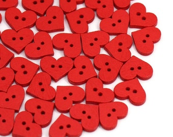 Wooden red heart buttons, 15mm