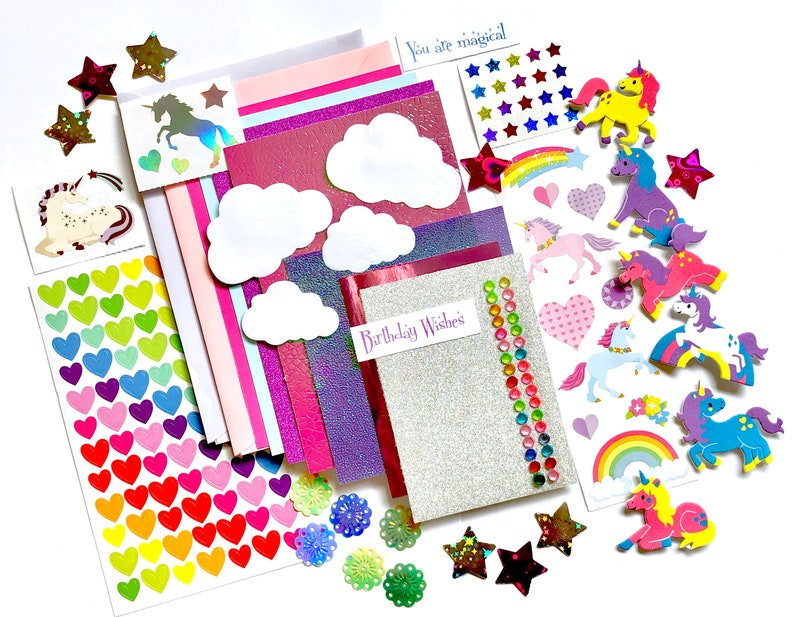 Unicorn Card Making Kit childrens craft kit unicorn Kit only