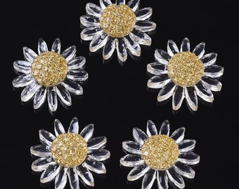 Flower cabochons, 27mm clear flower