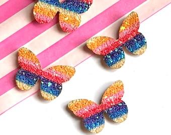 Butterfly glitter patch x2, rainbow butterfly