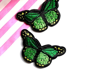 Butterfly iron on patch, green embroidered