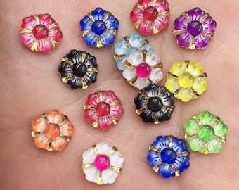 Flower embellishments, glass effect mixed colour