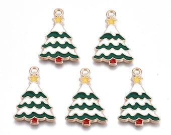 Christmas tree charms, 24mm, 2cs, 5pcs