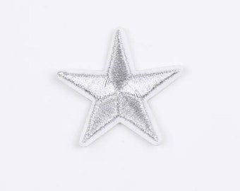 Silver iron on star patch